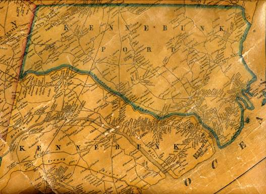 1856 atlas wall map of York County Maine